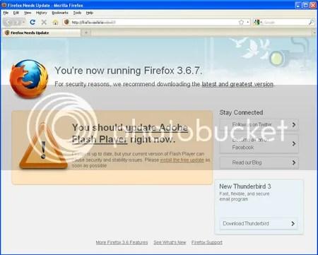 Fake Firefox Update Screen