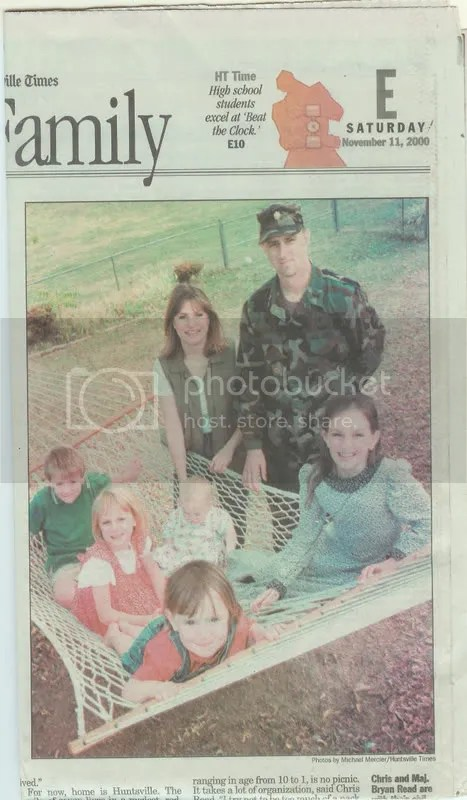 Chris and Maj. Bryan Read are with their children, left, Joseph, Rachel, Abigail (front), Amanda, and Mary, 17 months. Read is one of more than 1,500 active-duty military members stationed at Redstone Arsenal.