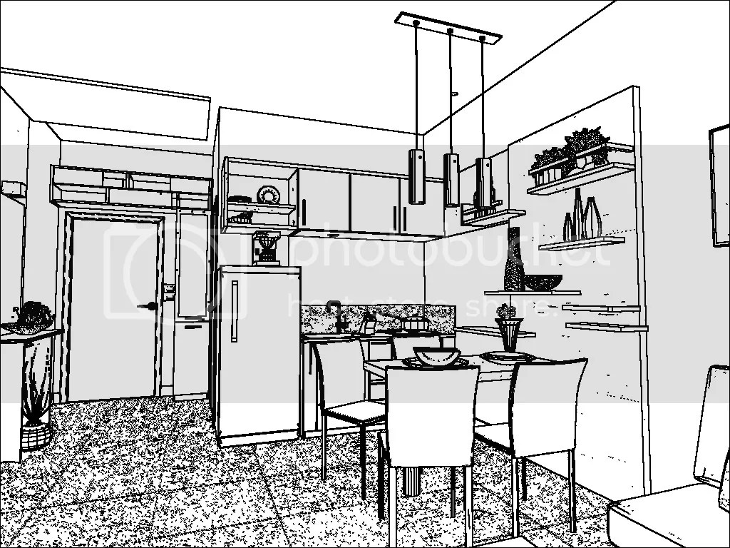 One Point Perspective Living Room Drawing