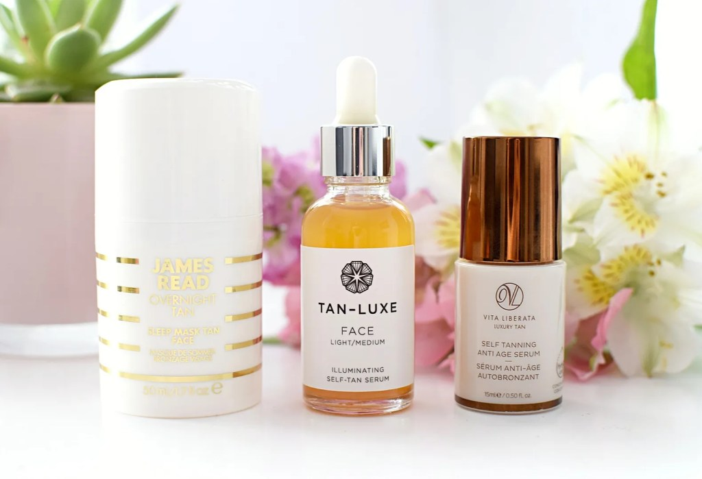 Facial self tanners with anti-ageing benefits