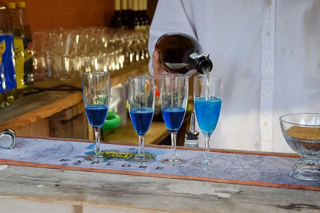 Blue cocktails at breaking bad popup ABQ launch