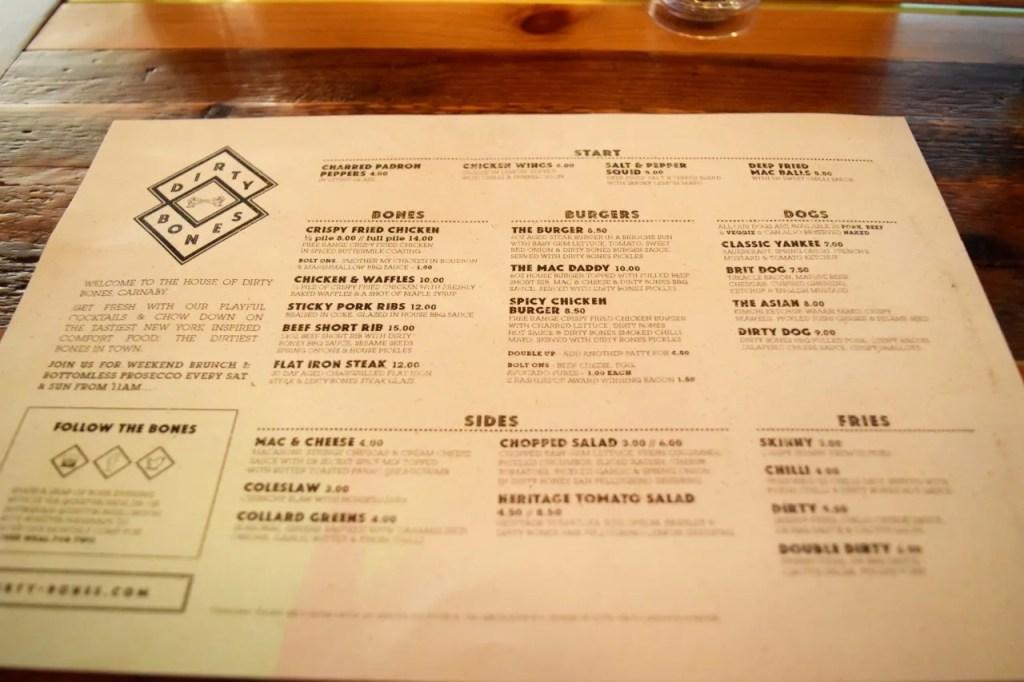 Dirty Bones Menu Kingly Court