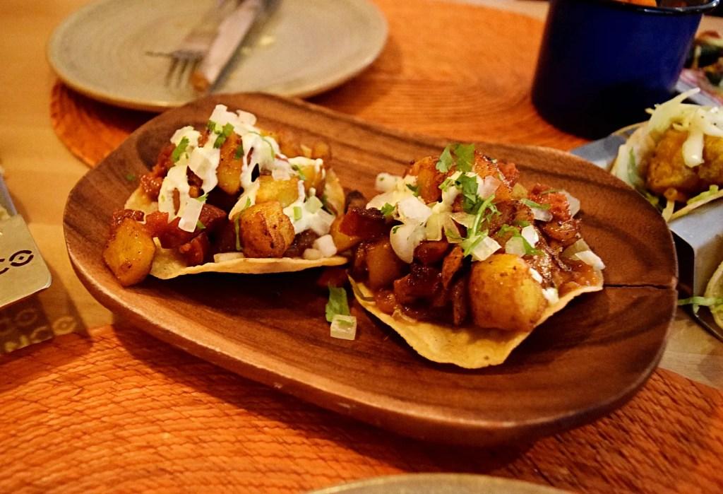 chorizo picante & potato tostadas Cielo Blanco
