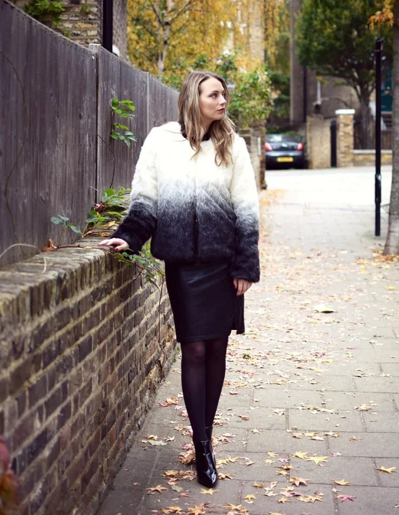 Yumi Dip Dye Faux Fur Coat In Grey   Yumi Loves Winter   The LDN Diaries