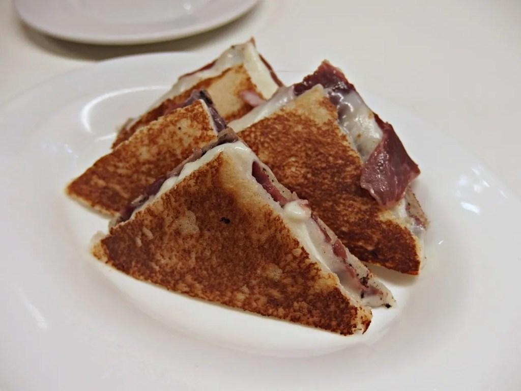 Mozzarella, Ham and Black Truffle Sandwich |Tapas 24 | Barcelona