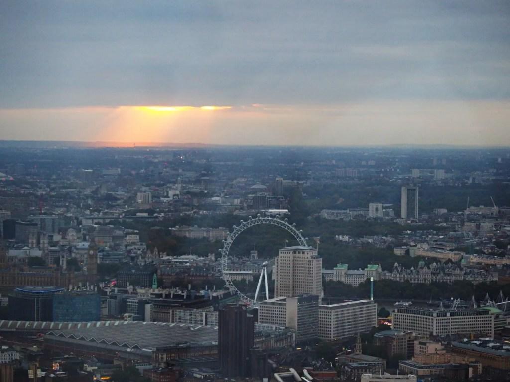 Sun setting over London