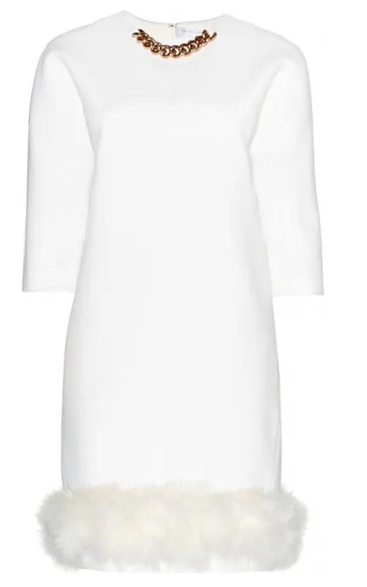 Victoria Beckham White Fur Trim Dress