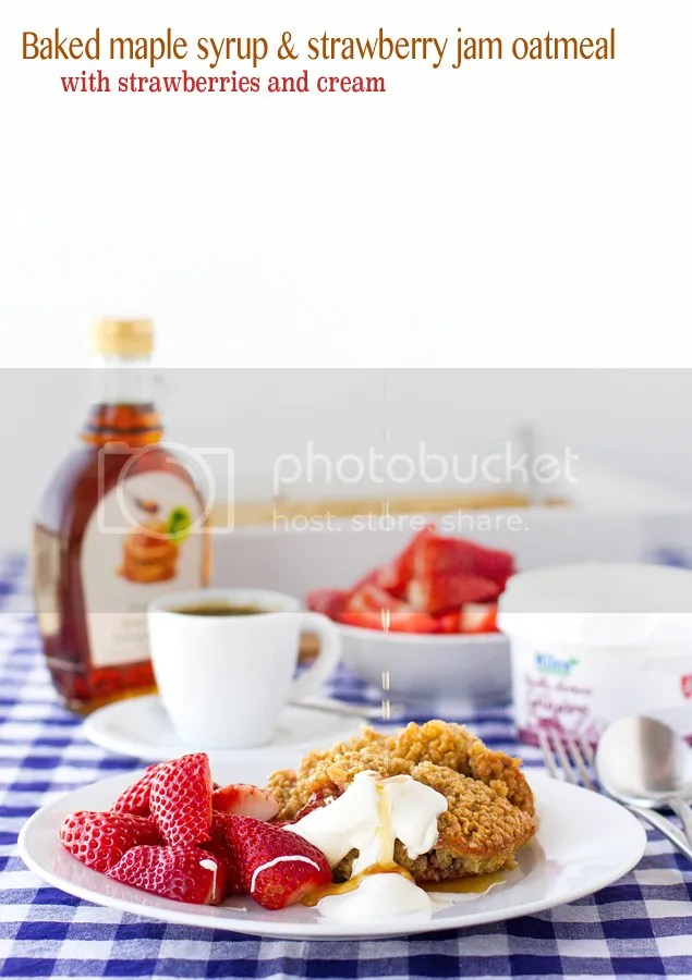 Baked maple syrup & strawberry jam oatmeal