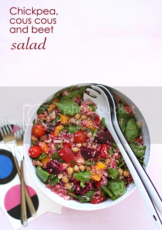 Chickpea, cous cous and beet salad