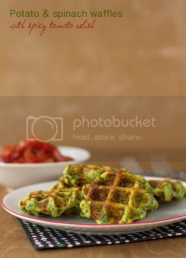 Potato & spinach waffles with spicy tomato relish