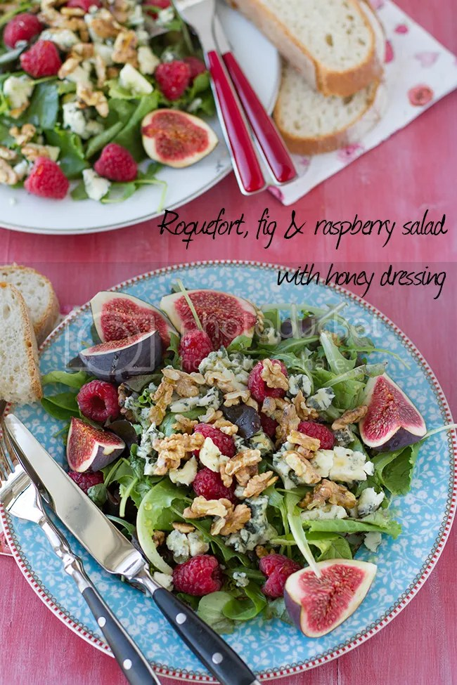 Roquefort, fig and raspberry salad with honey dressing
