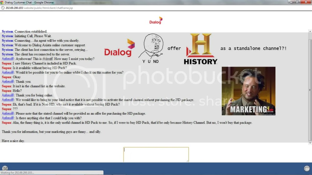 Dialog, Y U NO offer History Channel as a standalone channel?!