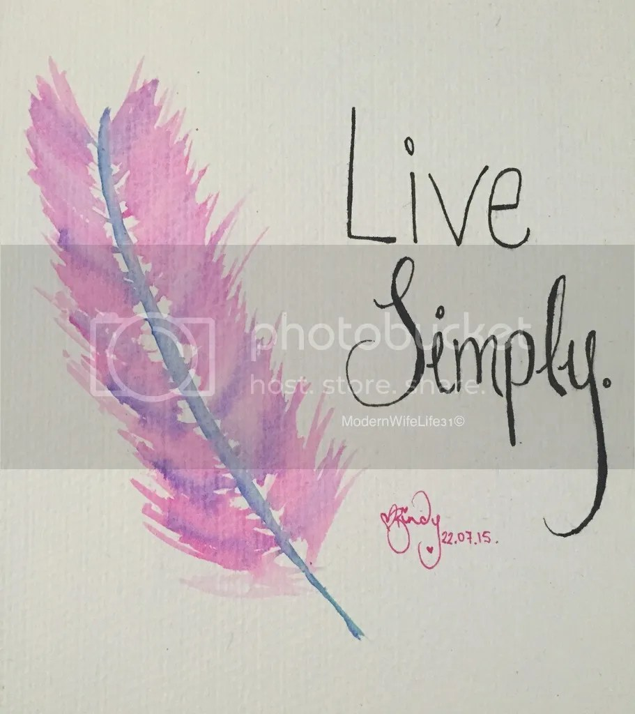 live simply water colour feather quote