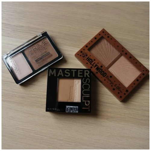 Maybelline Master Sculpt Contouring Palette 01 Light Medium Catrice Prime and Fine Professional Contouring Palette 010 Ashy Radiance W7 Hollywood Bronze & Glow bronzer & highlight palette