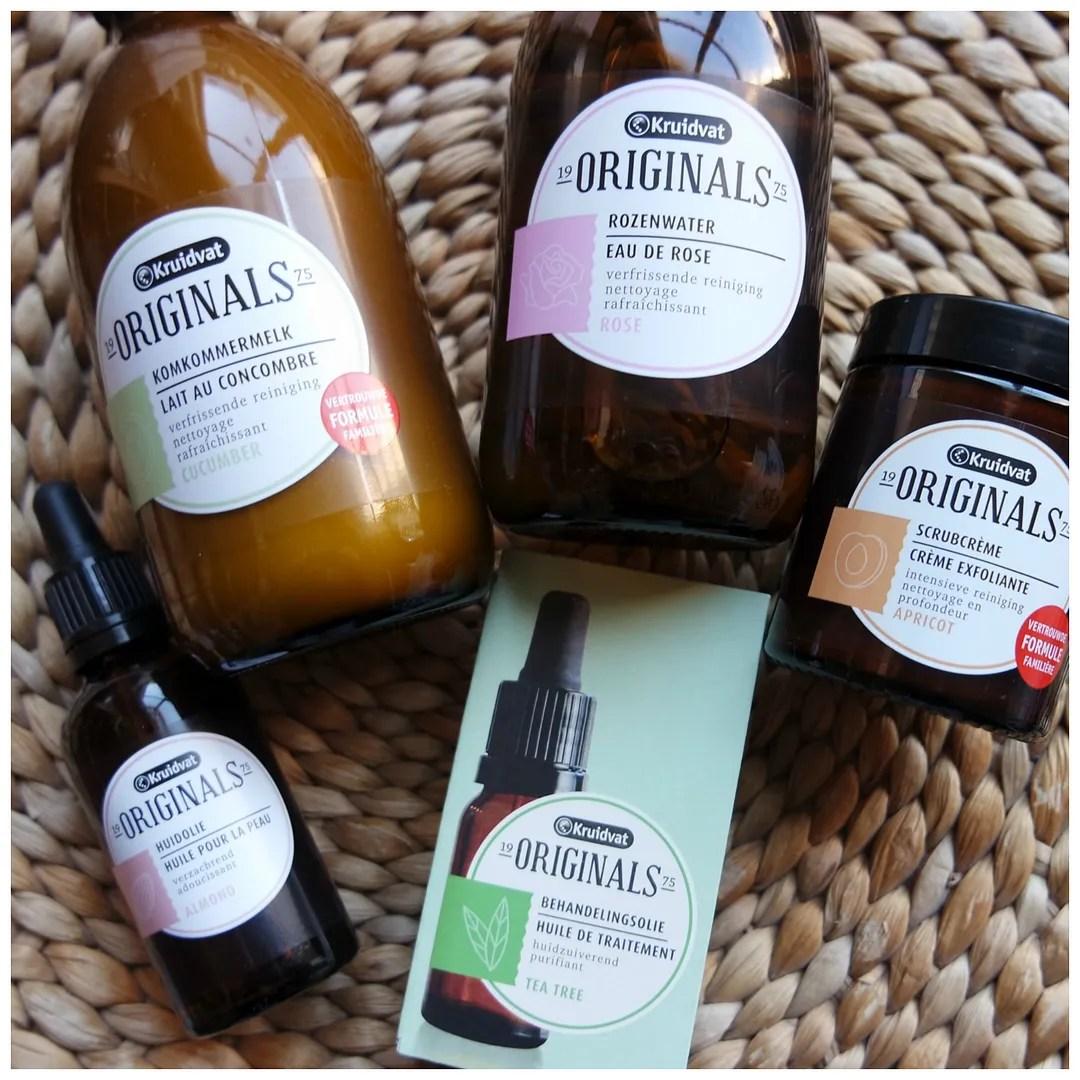 Kruidvat Originals Cucumber Cleansing Milk, Rosewater Toner, Almond Oil Facial Oil, Tea Tree Skin Treatment Oil, Apricot Scrub Cream