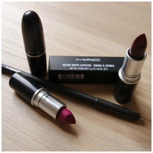 MAC Matte Lipstick Whirl MAC Retro Matte lipstick Flat Out Fabulous MAC Matte lipstick Sin MAC Lip Pencil Currant