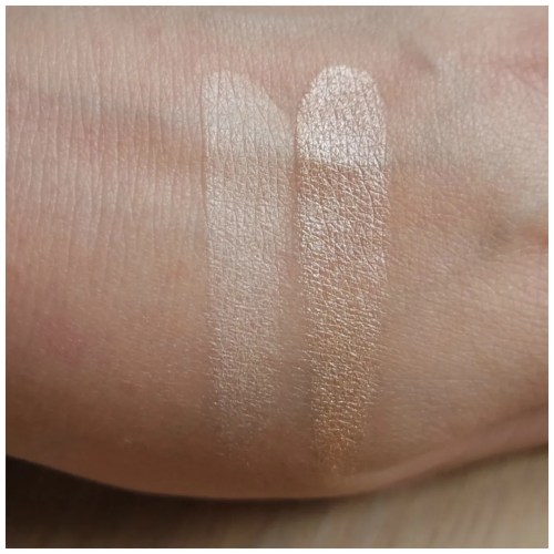 laura geller baked highlighter duo portofino french vanilla review swatch
