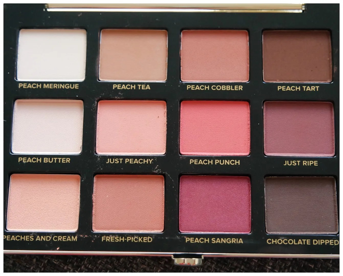too faced just peachy mattes eyeshadow palette review swatch