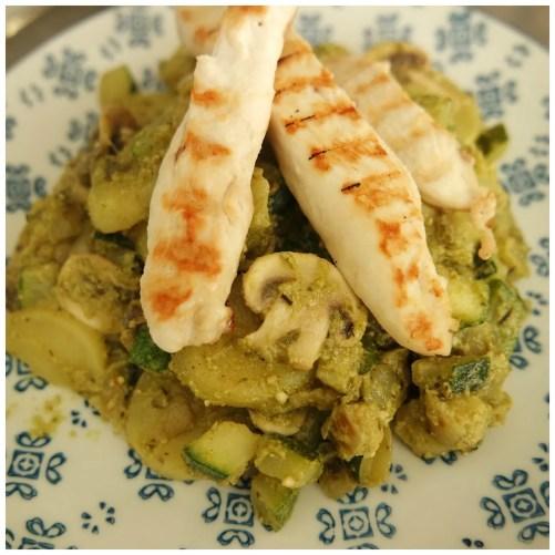 Recipe: pesto potatoes with roasted chicken