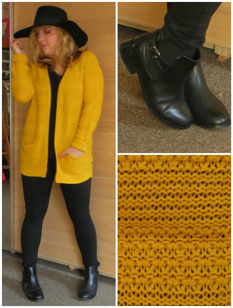 da624ff1799 Yellow knit cardigan (Only) Black skinny jeans (Topshop Jamie jeans)  Chelsea boots with buckle (New Look)Large flat top hat (H M)