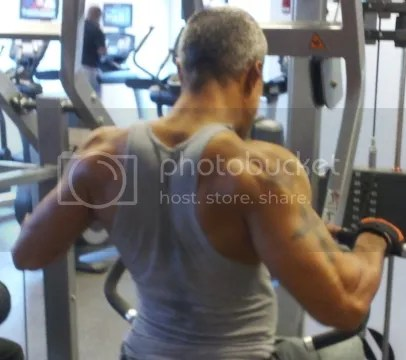 William, from the back, at the gym