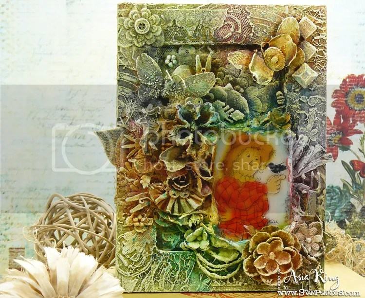 Finnabair style Stampendous Friendly Scarecrow mixed media altered frame