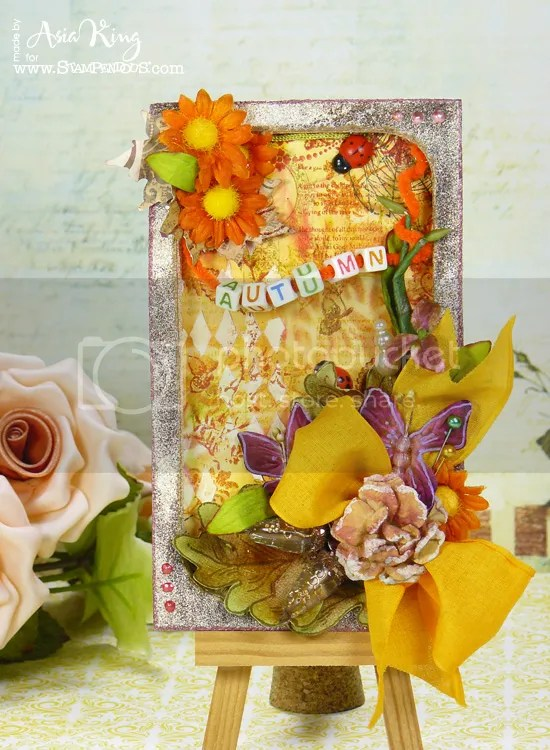 Asia King Stampendous autumnal tag with Jumbo leaves