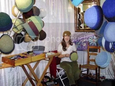 Carrie Cahill Mulligan works on her Heirloom Handknit Hats at the Westport Young Woman's League Creative Arts Festival, November 2006.