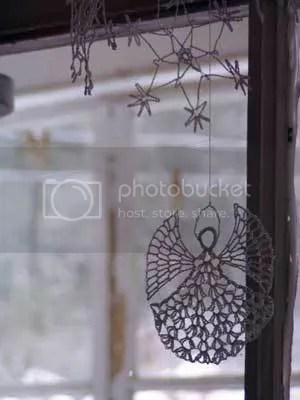 Hand-crocheted snowflake mobile, a gift from Phyllis Hassinger of Wasilla, Alaska, graces our winter home each holiday season.