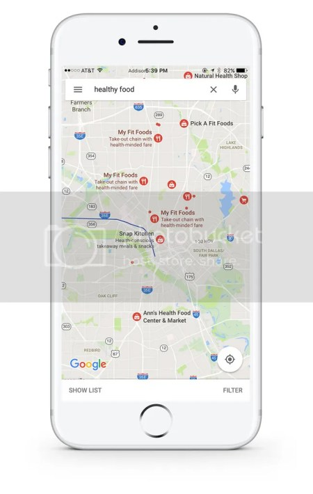 healthy food options on google maps