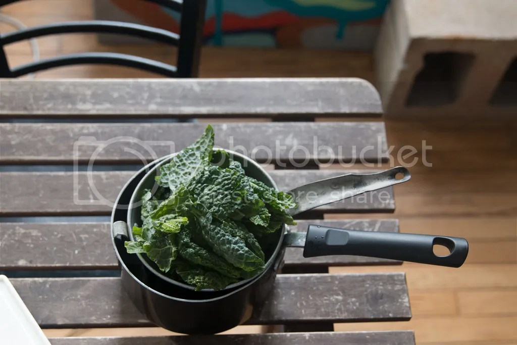 kale for potato and white bean chowder