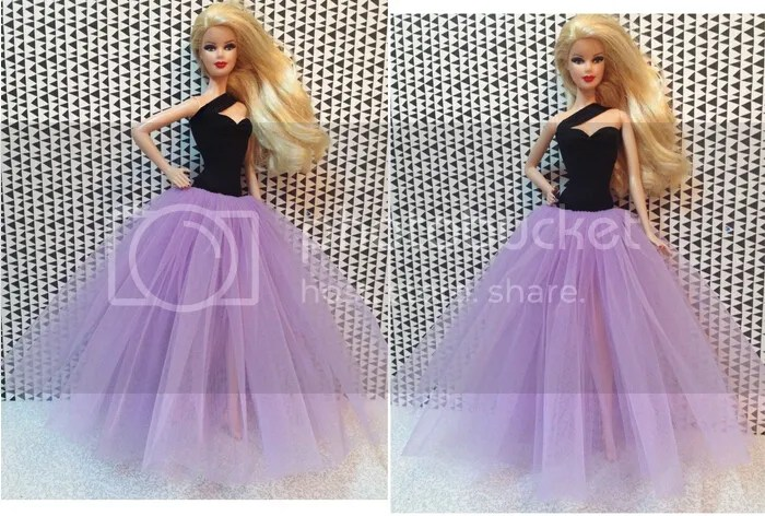 Fashion Purple Gauze Skirt Evening Dress Outfit Gown For