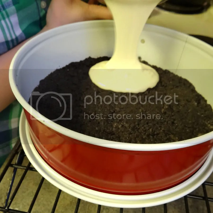 Pour cheesecake mixture into pan