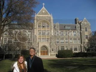 Bella and Songbae on the Georgetown University tour.