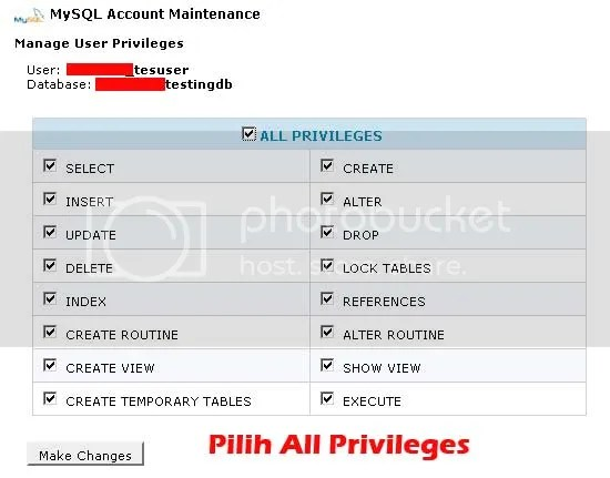Set Privilege User to Database