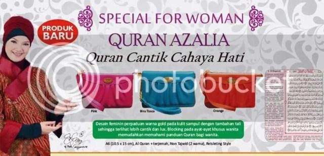 Quran Azalia Alquran cantik cahaya hati. Tersedia dalam 3 pilihan warna; pink, toska dan jingga (orange).