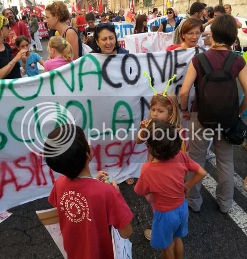 manifestazione in difesa della scuola pubblica Roma 10 ottobre 2014