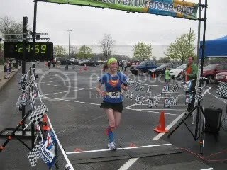 Crossing the finish line of the Durbin Classic 5K - Noblesville, Indiana