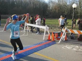 Crossing the finish line of the Frostbite 5K - Cherokee Park - Louisville, Kentucky