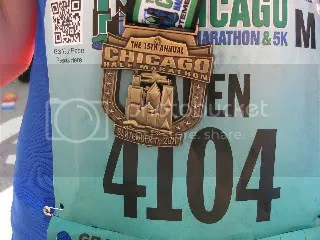 My race bib & finisher's medal at the Chicago Half Marathon on September 11, 2011