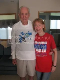 Grandpa and me in our race shirts in summer 2011 - his is a Lake Minnetonka Half Marathon shirt.