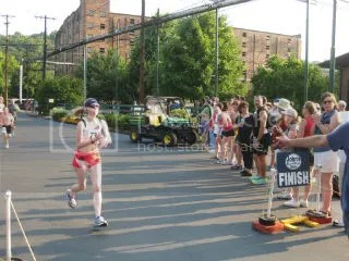 Me crossing the finish line of The Great Buffalo Trace 5K – Frankfort, Kentucky