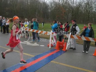 Me crossing the finish line of the Frostbite 5K - Louisville, Kentucky