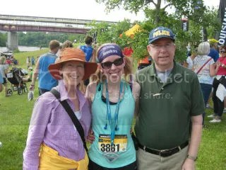 Aunt Jan, Me, and my Dad after the Minneapolis Half Marathon - Minneapolis, Minnesota