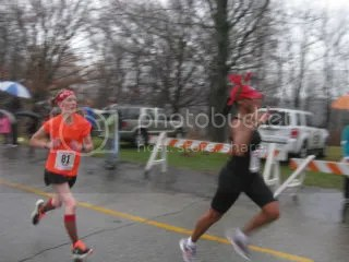 Me heading to the finish line of the Reindeer Romp 4K - Louisville, Kentucky