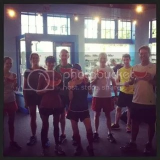 Monday Fun Run Group with fresh watermelon after the run.  Yes...I had already devoured mine!