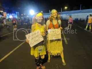 Me as Belle and Indy as Lilo at the staging area before the Disneyland Half Marathon