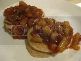 Gluten-Free Applesauce-Stuffed Pancakes topped with Apple Compote