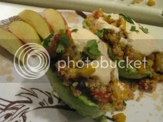 Spicy Quinoa Stuffed Avocado with a Vegan Sriracha Sour Cream