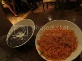 La Hacienda de San Angel's sides of Mexican Rice and Refried Black Beans